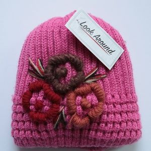 76eb99c4735 GIRLS NWT PINK SOFT KNIT EMBROIDERED WOOL CAP HAT